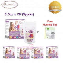 Autumnz Double ZipLock Breastmilk Storage Bag - 3.5oz x 28 (5packs) Free nursing tea