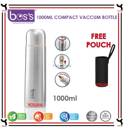BOS'S Stainless Steel Compact Vacuum Bottle - 350ml/500ml/750ml/1000ml (FREE Pouch)